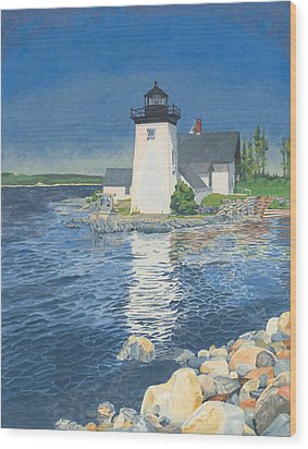 Grindle Point Light Wood Print by Dominic White