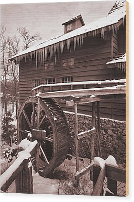 Grist Mill At Siver Dollar City Wood Print