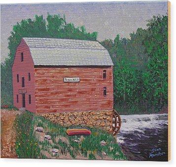 Grist Mill Wood Print by Stan Hamilton