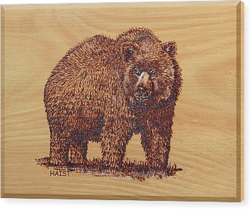 Wood Print featuring the pyrography Grizzly 3 by Ron Haist