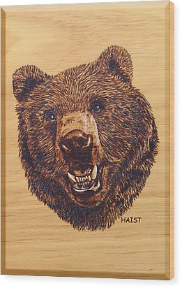 Wood Print featuring the pyrography Grizzly 5 by Ron Haist