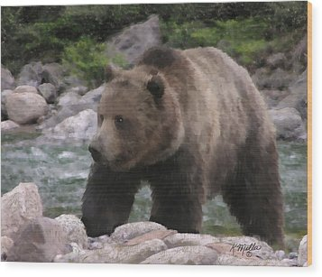 Grizzly Bear Wood Print by Kathie Miller