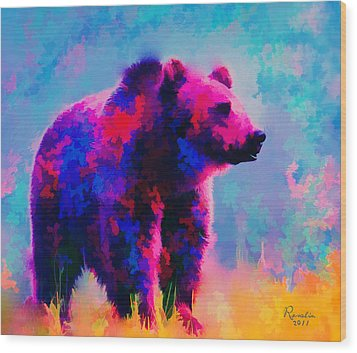 Grizzly Bear  Wood Print by Rosalina Atanasova