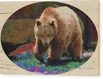 Wood Print featuring the digital art Grizzly Bear With Enhanced Background by Kae Cheatham