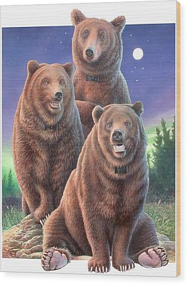 Grizzly Bears In Starry Night Wood Print by Hans Droog