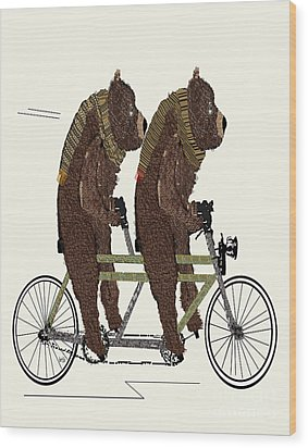 Wood Print featuring the painting Grizzly Bears Lets Tandem by Bri B