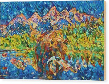 Wood Print featuring the painting Grizzly Catch In The Tetons by Dan Sproul