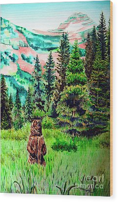 Grizzly Country Wood Print by Tracy Rose Moyers