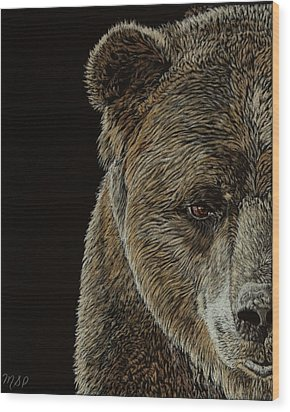 Grizzly Eye Wood Print