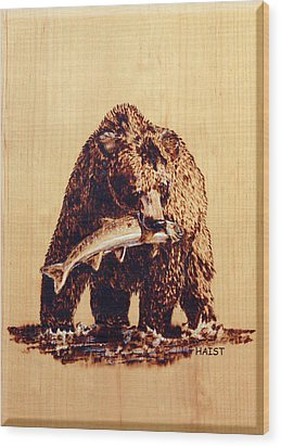 Wood Print featuring the pyrography Grizzly by Ron Haist