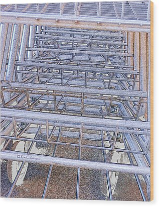 Wood Print featuring the digital art Grocery Carts 1 by Kae Cheatham