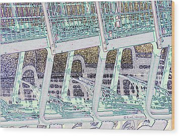 Wood Print featuring the digital art Grocery Carts 2 by Kae Cheatham