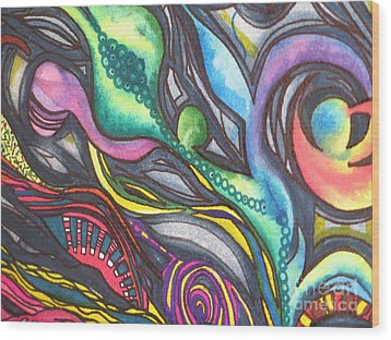 Wood Print featuring the painting Groovy Series Titled My Hippy Days  by Chrisann Ellis
