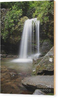 Grotto Falls Vertical Wood Print