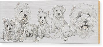 Growing Up West Highland White Terrier Wood Print by Barbara Keith