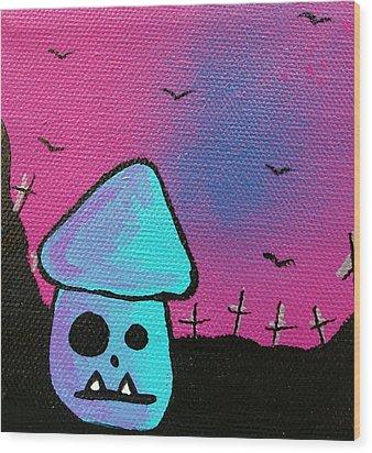 Gruff Zombie Mushroom Wood Print by Jera Sky