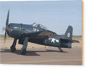 Grumman F8f-1 Bearcat Nl9g Casa Grande Airport Arizona March 5 2011 Wood Print by Brian Lockett
