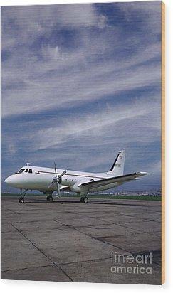 Grumman G-159 Gulfstream Patiently Waits, N719g Wood Print