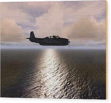 Wood Print featuring the digital art Grumman Tbf 01 by Mike Ray
