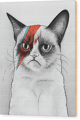 Grumpy Cat As David Bowie Wood Print by Olga Shvartsur