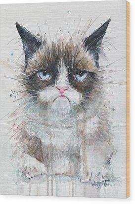 Grumpy Cat Watercolor Painting  Wood Print