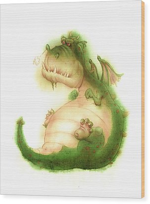 Grumpy Dragon Wood Print by Andy Catling