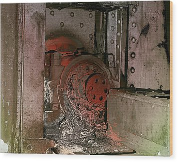 Wood Print featuring the photograph Grunge Gear Motor by Robert G Kernodle