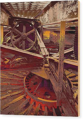 Wood Print featuring the photograph Grunge Gears by Robert Kernodle