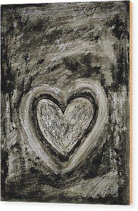 Grunge Heart Wood Print by Frank Tschakert