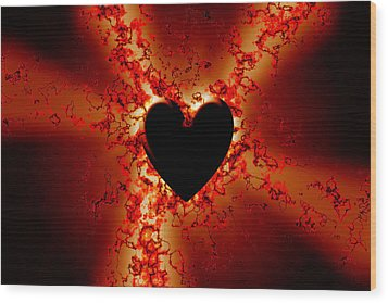 Grunge Heart Wood Print by Phill Petrovic