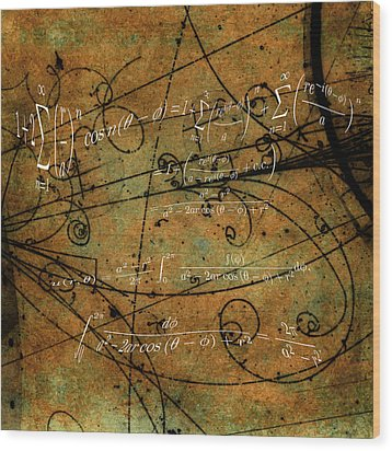 Wood Print featuring the photograph Grunge Math Equations by Robert G Kernodle