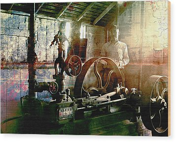 Wood Print featuring the photograph Grunge Meyer Mill by Robert G Kernodle