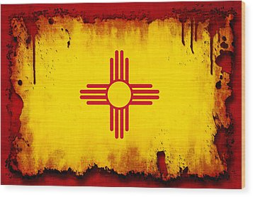 Grunge Style New Mexico Flag Wood Print by David G Paul