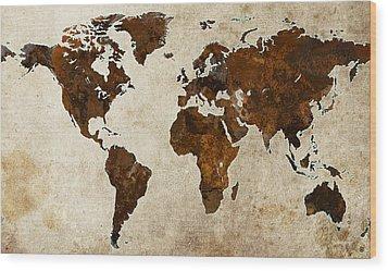 Grunge World Map Wood Print by Gary Grayson