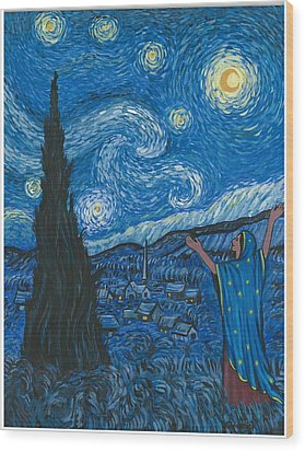 Guadalupe Visits Van Gogh Wood Print
