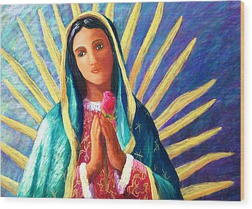 Guadalupe With Rose Wood Print by Candy Mayer
