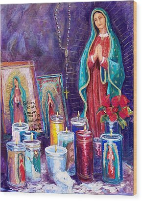 Guadalupe Y Las Velas Candles Wood Print by Candy Mayer