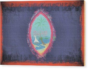 Wood Print featuring the digital art Guam Flag by JC Findley