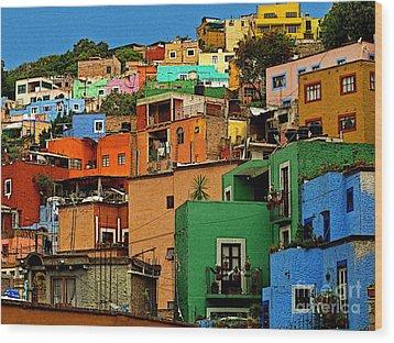 Guanajuato Hillside 1 Wood Print by Mexicolors Art Photography