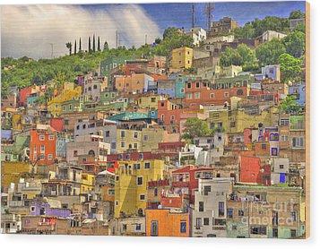Guanajuato Hillside Wood Print by Juli Scalzi