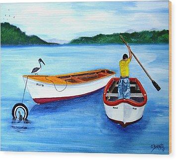 Guanica Fisherman Wood Print by Gloria E Barreto-Rodriguez