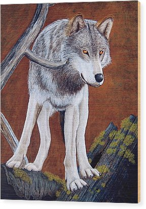 Guardian Of The Den Wood Print by Lorraine Foster