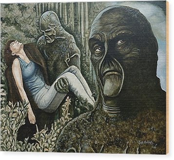 Wood Print featuring the painting Guardian Of The Swamp by Al  Molina