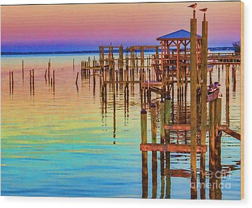 Guarding The Dock Wood Print by Roberta Byram
