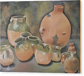 Guatemala Ceramic Pots  Wood Print by Jose Velasquez