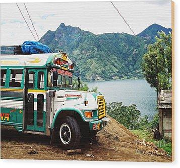 Guatemalan Chicken Bus Wood Print by Trude Janssen