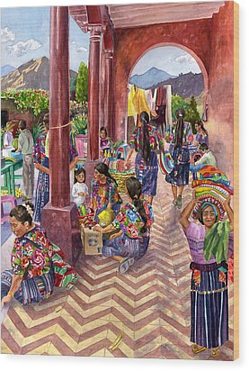 Guatemalan Marketplace Wood Print by Anne Gifford