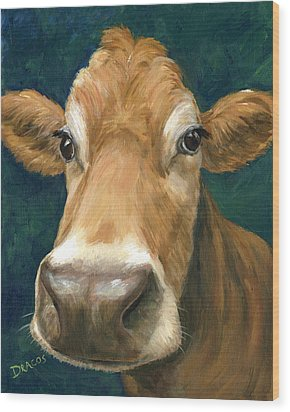 Guernsey Cow On Teal Wood Print by Dottie Dracos