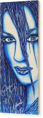 Guess U Like Me In Blue Wood Print by Joseph Lawrence Vasile