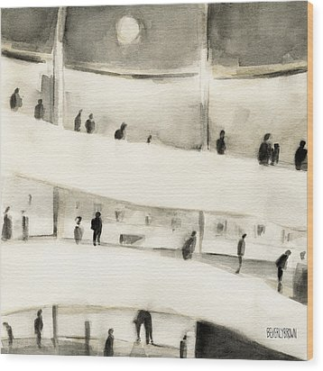 Guggenheim Inside Wood Print by Beverly Brown